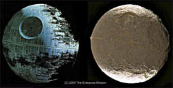 "The ""Death Star"" from the ""Star Wars"" movie and Lapetus an actual moon of Saturn"