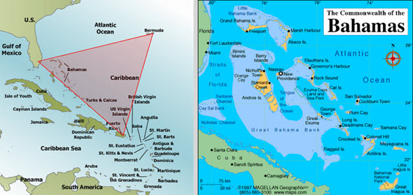 Sky Ship Articles Ships Over Cashiers Ufo Hot Spot: Map Of Bahamas And Bermuda Triangle At Usa Maps