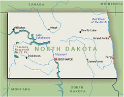 map of north dakota